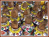 Kalashes with holy water from 108 rivers for the Maha Abhishek ceremony