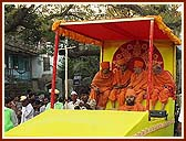 Senior sadhus gracing the procession from different floats