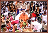 The tribal youths seek Swamishri's blessings