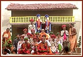 Children and youths perform a folk-dance in the pratishtha assembly