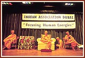 Swamishri during a special assembly by the Indian Association of Dubai