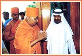 Swamishri is welcomed by Sheikh Hamed Bin Majid Al-Kasim, Minister of Justice of Sharjah, at his residence