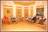 Swamishri and the Prime Mininster with his cabinet ministers