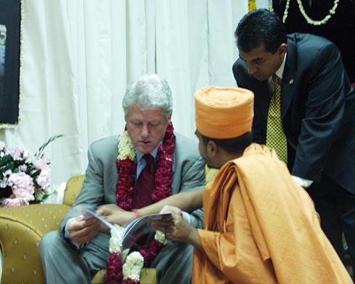 Mr. Clinton and Mike Patel (Commissioner of AIF) understand the BAPS earthquake rehabilitation project
