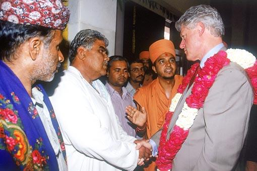 Meeting some of the earthquake victims to whom BAPS brought relief and rehabilitation