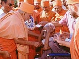 Blessing an old devotee