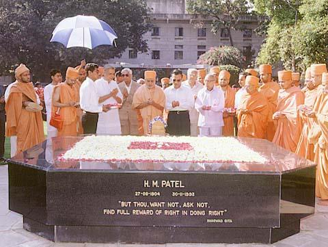Paying respects at the memorial of Shri H.M.Patel