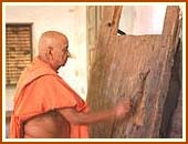 Touching the door sanctified by Lord Swaminarayan