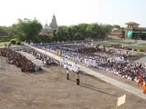 Devotees in the mandir ground