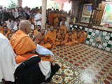 Swamishri engaged in darshan at sabha mandap