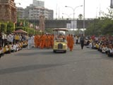 Swamishri on the way for his morning puja