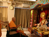 Swamishri swings Bhagwan Swaminarayan in a decorated hindolo