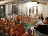 Swamishri and devotees engaged in dhun