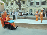 A skit presentation by youths in front of Swamishri