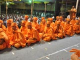 Newly initiated sadhus on the stage