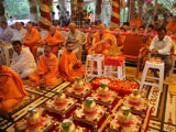 Senior sadhus and devotees engaged in patotsav mahapuja rituals