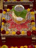 Kalashas filled with various materials for abhishek