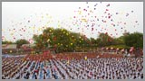 Yuvaks and Yuvatis release individual balloons, filling the sky with colors