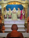 Swamishri engaged in darshan of Shri Dharmakul