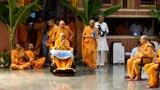 Swamishri arrives for the Murti-Pratishtha Vidhi in the upper sabha mandap
