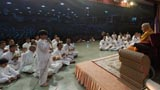Re-enactment of Bal Sabha on stage, in front of Swamishri