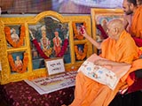 Swamishri sanctifies murtis for the new BAPS sanskardham at Pramukh Park, Botad, India
