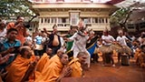Youths from Africa perform a dance before Swamishri