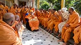 Sadhus doing darshan of Swamishri in the mandir pradakshina