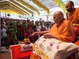 Swamishri sanctifies bricks for the new BAPS Shri Swaminarayan Mandir at Poshina, a tribal area, India
