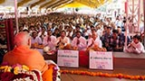 Swamishri sanctifies bricks for the new BAPS Shri Swaminarayan Mandirs at Mota Fofadiya, Farti Kui and Dabhoi, India