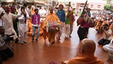 Tribal devotees from Poshina, Gujarat, India rejoice before Swamishri
