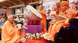 Swamishri tosses flower ball