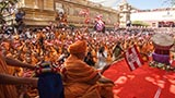 Swamishri, sadhus and devotees wave BAPS flag