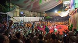 Sadhus and devotees rejoice before Swamishri