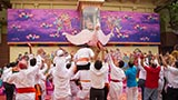 Youth enjoy the celebrations with flower petals and rejoice in the presence of Swamishri