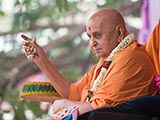 Swamishri blesses all during the Pushpadolotsav celebrations by showering petals