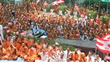 Sadhus wave BAPS flags