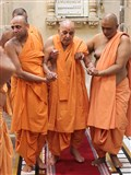 Swamishri walks for darshan in the mandir