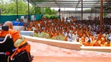 Sadhus and devotees doing darshan of Swamishri