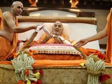 HH Pramukh Swami Maharaj honored with a garland