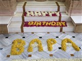 Decorations celebrating Swamishri's 93rd birthday celebrations as per the solar (Gregorian) calendar