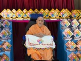 HH Pramukh Swami Maharaj with awards for the 'Become Adarsh' Project, UK