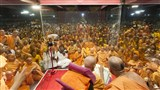 Sadhus and devotees gather for darshan of Swamishri