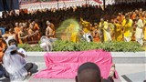 Swamishri sprays sanctified colored water on sadhus... 'Brahmanand Relave Re...'