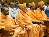 Pujya Ishwarcharan Swami and sadhus during the assembly