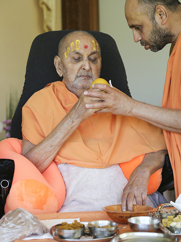 Swamishri having lunch