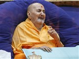 Swamishri in a divine, jovial mood in the afternoon
