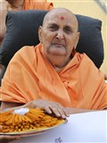 Swamishri sanctifies chandan (sandalwood) sticks