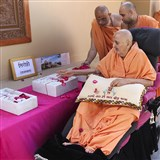Swamishri sanctifies the foundation stone for the BAPS Shri Swaminarayan Mandir, Sirohi (Rajasthan), India