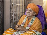 Swamishri engrossed in darshan of Brahmaswarup Shastriji Maharaj on Guru Purnima